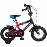 Bicicleta copii 12 FIVE Klefki cadru otel culoare negru rosu roti ajutatoare varsta 2 4 ani