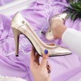 Pantofi Merila aurii cu toc eleganti