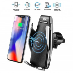 Suport auto cu incarcator wireless si senzor inteligent Smart Sensor S5, USB