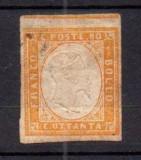 Italy Sardinia 1855 King Viktor Emanuel II 80c brown orange MH AM.452, Nestampilat