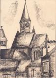 Biserica saseasca Transilvania desen in tus semnat 1992