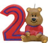 Lumanare aniversara pentru tort, Cifra 2 Ursulet Rosu