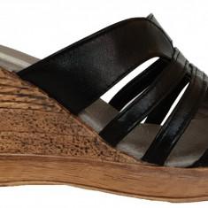 Papuci de dama din piele cu talpa ortopedica Ninna Art 178 negru