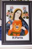 Maica Domnului Pictura Icoana veche pe sticla Austria