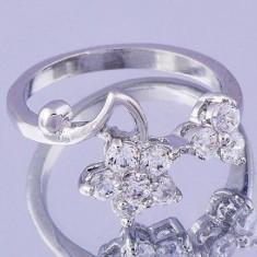 Inel finut si delicat cu floricele stil romantic, placat aur alb 10k si zirconia, 57 - 67