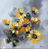 Tablou ulei (30/30 )-FLOAREA SOARELUI, Flori, Impresionism