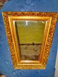 8599-Oglinda rombica aurie veche anii 1900 rama lata cu foita aurie originala.