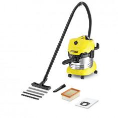 Aspirator multifunctional Karcher WD 4 Premium, aspirare umeda/uscata, 20 l, 1000 W, duza rosturi, sac filtru din pasla, galben/negru, 1.348-150.0