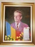 Portret înrămat, pictură în ulei pe placaj, Regele Mihai I. 80x64 cm