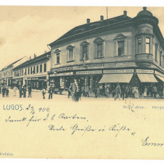 2114 - LUGOJ, market, stores, Litho, Romania - old postcard - used - 1904