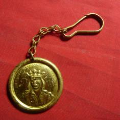 Breloc -Medalie Stefan cel Mare ,revers stema si inscriptie in slavona ,d=3,3cm