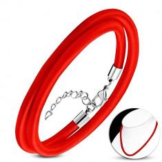 Colier roșu cu fir subțire, lungime reglabilă, închidere tip lobster