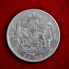 5 lei 1883 - Carol I Rege - Moneda Argint Romania