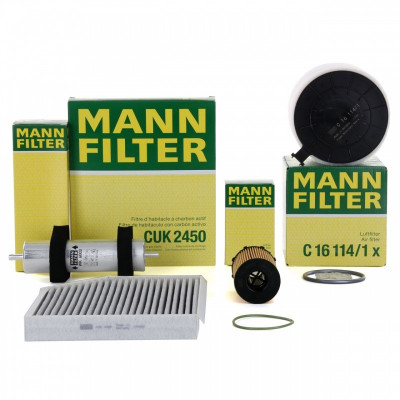 Pachet Filtre Aer+Polen+Ulei+Combustibil Mann Filter Audi A4 B8 07-15 3.0 TDI foto