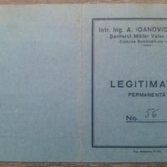 Legitimatie permanenta Santierul Militar Valea Sadului/ 1940