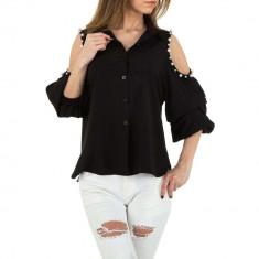 Camasa trendy, neagra, cu decupaje la umeri, M/L, S/M, Negru