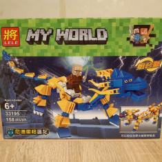 NOU/SIGILAT - Set de 158 piese tip lego Minecraft LELE 33195-1