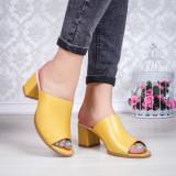 Papuci cu toc Piele galbeni Torita
