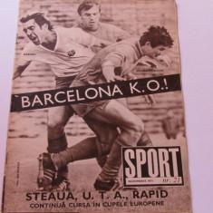 Revista SPORT-nr.21/11.1971 (Cehoslovacia-Romania,UTA ARAD)