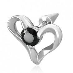 Expander fals, oțel inoxidabil cu o inimă și zircon negru