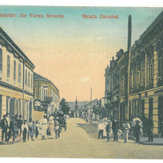 2424 - TURNU-SEVERIN, Bank, street stores, Romania - old postcard - used - 1908