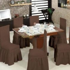 Set 6 huse pentru scaune cu volanase, culoarea Maro