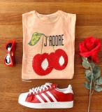 Tricou dama bumbac fin 100% roz piersica cu imprimeu ADORE | arhiva Okazii.ro