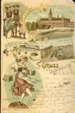 Carte postala ilustrata, Germania, Salutari din Hamburg, 1899