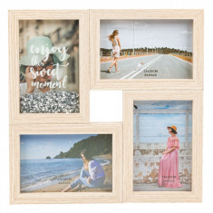 Rama foto din lemn colaj pentru 4 poze, 29×29 cm, maro