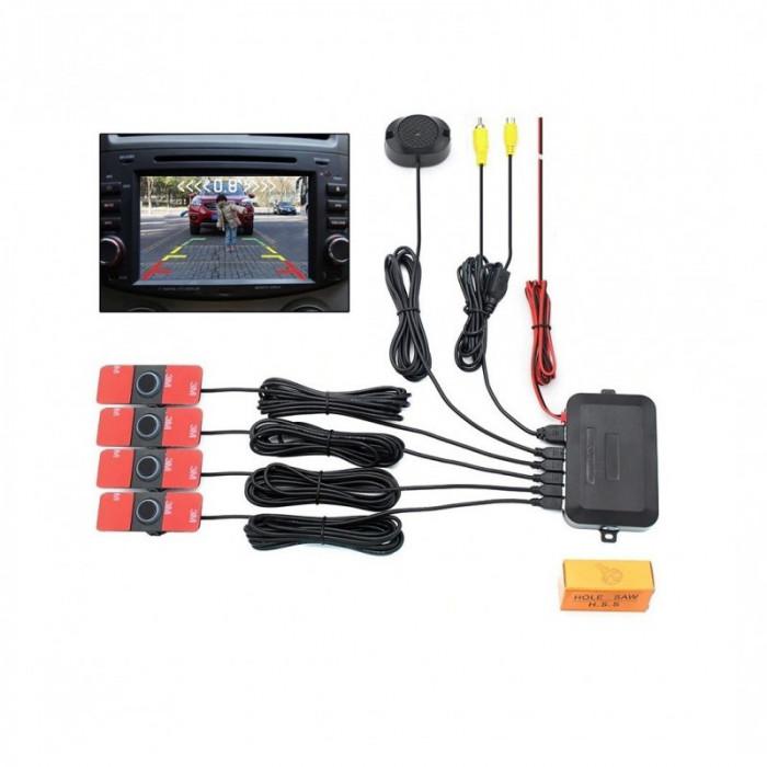 Kit 4 Senzori parcare auto look Oem dual cu preluare camera marsarier si intrare in orice monitor, navigatie