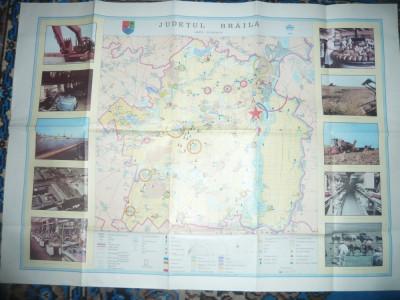 Harta Economica a Judetului Braila 1985 ,cu ilustratii ,dim.=85x61cm foto