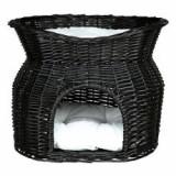 Pat pentru căței și pisici, culcuș din răchită - negru