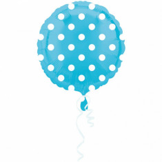 Balon folie 43cm bleu cu buline albe