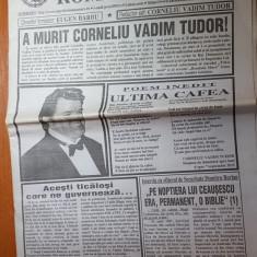Ziarul romania mare 18 septembrie 2015 - moartea lui corneliu vadim tudor