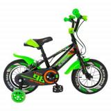 Bicicleta Copii Rich Baby R1407A, roti 14inch, frane C-Brake, roti ajutatoare cu LED, 3-5 ani (Negru/Verde)