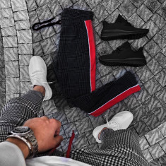 Pantaloni pentru barbati negru conici cu siret negru bumbac BB xlines