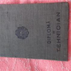 DIPLOMA PERIOADA COMUNISTA- DIPLOMA DE TEHNICIAN DRUMURI SI PODURI DIN 1952