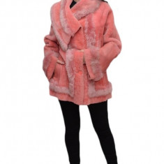 Jacheta eleganta din blana naturala, neagra, roz