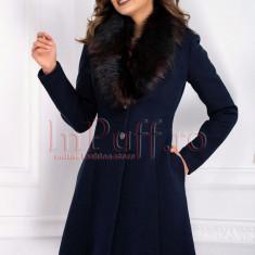 Palton MBG bleumarin din lana cu blana la gat
