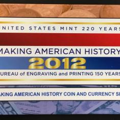 SUA, Set 1 dolar 2012 S Proof  argint, bancnota 5 dolari 2009 San Francisco
