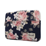 Husa Impermeabila Universala MacBook Air/Pro 15 Inch - Canvaslife Sleeve Navy/Rose