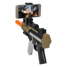 Arma interactiva de jucarie, model mitraliera cu conectare la telefon prin bluetooth, 29x19x4 cm