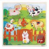 Puzzle lemn cu sunete animale de la ferma, vehicule, animale din jungla.