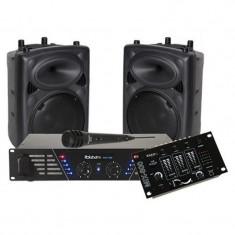 Kit sonorizare Ibiza, 2 boxe 10 inch, amplificator 2 x 240 W, mixer inclus