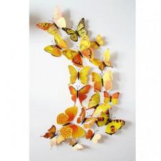 Fluturi 3D cu magnet, decoratiuni casa sau evenimente, set 12 bucati, galben