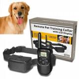 Zgarda electrica pentru dresaj canin, raza 300m, ajustabila, rezistenta la ploaie si praf - Remote Pet Training Collar LCD Display - 67224