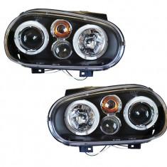 Set Faruri tuning Vw Golf 4 1J 1997-2006 (Hatchback/Combi/Cabriolet) cu Angel Eyes , transparent-negru , tip bec H1+H1 , fara motoras