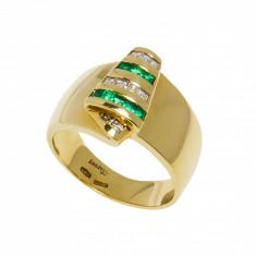 Inel din aur 18K cu smarald e si diamante, model Cleopatra
