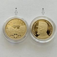 2 x 50 Bani 2019 PROOF Romania, Ferdinand I in capsula, ambele variante de scris