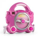Auna Pocket Rocker, roz, sistem karaoke cu CD player, Sing a Long, 2 microfoane, baterii